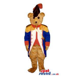Brown Bear Plush Mascot Wearing Blue And Red Soldier Garments -