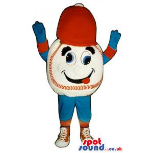 Dizzy Baseball Mascot Wearing Blue And Red Sports Garments -