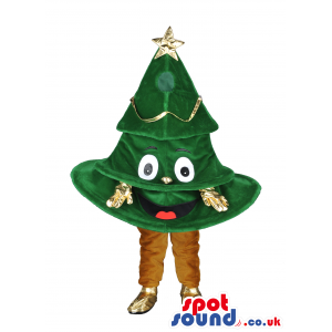 Smiling Christmas tree mascot with gold star, hands and feet -