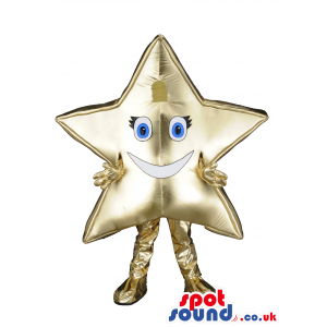 Golden star mascot with smiling face and golden hands and feet