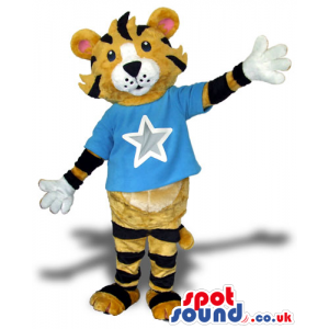 Tiger Animal Plush Mascot Wearing A Blue T-Shirt With A -