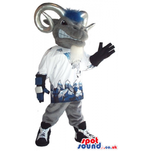 Angry Goat Plush Mascot With Silver Horns Wearing Sports