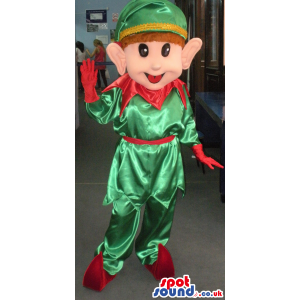 Elf mascot in green and red attire with red shoes and green cap