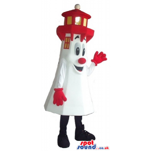 Amazing Funny Lighthouse Character Mascot With A Red Nose -