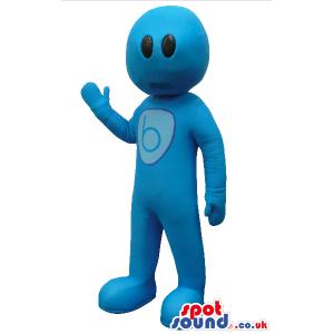 Fantasy Blue Creature Plush Mascot With A Round Head And A Logo
