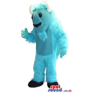 Light Blue Hairy Monster Plush Mascot With White Horns - Custom