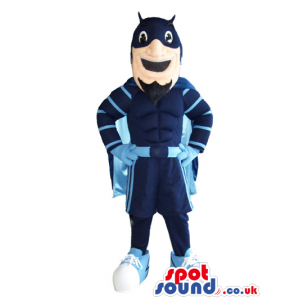 Superhero Plush Mascot Wearing Blue Garments And Cape - Custom