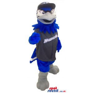 All Brown Eagle Bird Plush Mascot Wearing Sports Clothes -