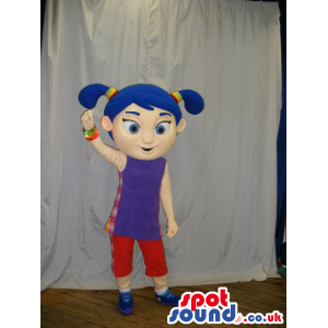 Blue Haired Girl Mascot Wearing Purple And Red Clothes - Custom