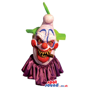 Scary Halloween Colorful Clown Head Costume With A Cigar -