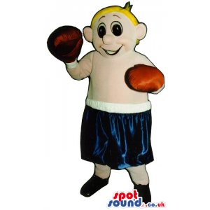 Blond Boy Plush Mascot Wearing Boxing Sports Garments - Custom