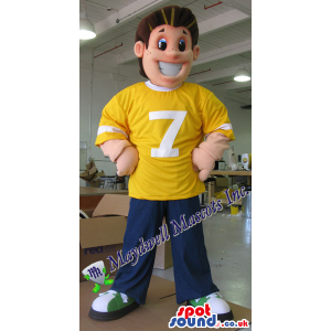 Big Boy Plush Mascot Wearing Sports Clothes With A Number -