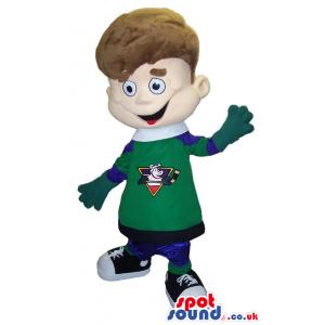 Boy Plush Mascot Wearing Hockey Sports Clothes With A Logo -