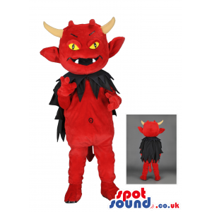 Red devil mascot with horns, black cape and pointy tail, -