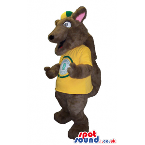 Cute Dark Brown Squirrel Plush Mascot With Yellow T-Shirt And