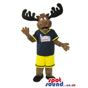 Cute Dark Brown Reindeer Plush Mascot With Yellow Shorts -
