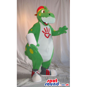 Customizable Green And White Dinosaur Plush Mascot With A Cap -