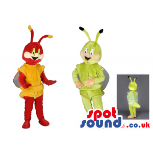 One red and yellow and one green and brown smiling bee mascot -