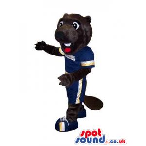Dark Brown Otter Plush Mascot Wearing Football Sports Clothes -