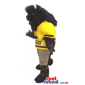 Dark Brown Bison Plush Mascot Wearing Football Sports Clothes -