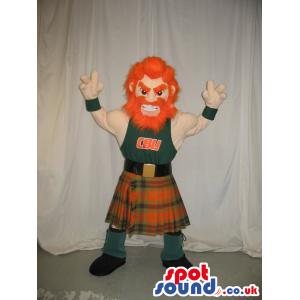 Red-Haired Character Plush Mascot Wearing Scottish Garments -