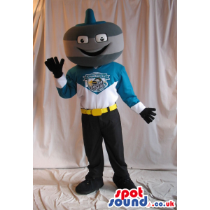 Funny Curling Stone Mascot Wearing Sports Garments With Logo -