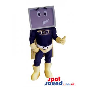 Screen Superhero Plush Mascot With A Logo And Brandname -