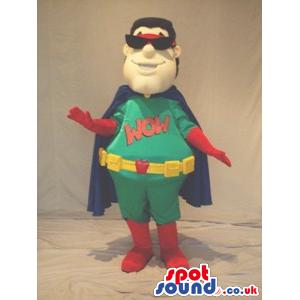 Superhero Character Mascot Wearing Sunglasses And A Cape -