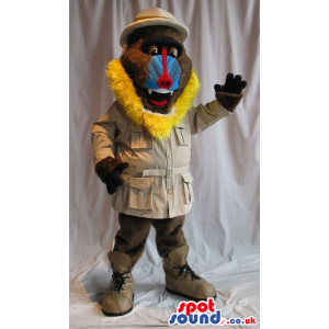Baboon Animal Plush Mascot Wearing Explorer Garments - Custom