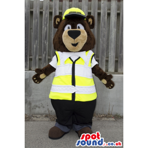 Bear Animal Plush Mascot With A Construction Vest And Helmet -