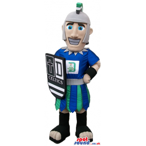 Great Celtic Warrior Character Mascot With A Shield And Text -