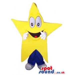 Funny Big Yellow Mascot With Cartoon Face - Custom Mascots