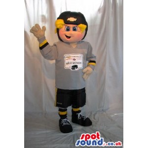 Blond Boy Plush Mascot Wearing Sports Clothes With Logo And