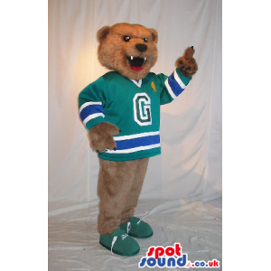 Brown Bear Plush Mascot Wearing Green Sports Clothes With