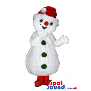 White snowman mascot with red Santa hat and green buttons -