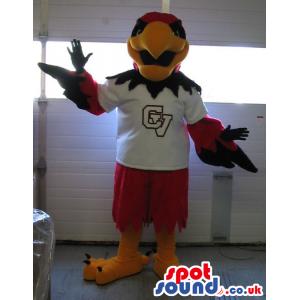 Red And Black Eagle Bird Plush Mascot Wearing Sports Shirt -