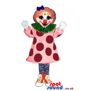 Colorful Girl Clown Mascot Or Costume With A Pink Dress -