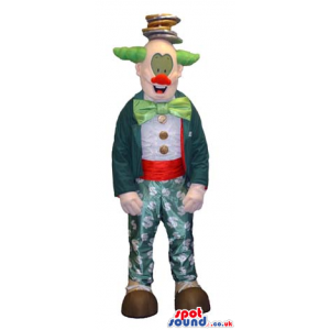 Colorful Clown Mascot With A Green Garments And Hair. - Custom