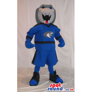 Grey Plush Snake Mascot Wearing Blue Sports Garments - Custom