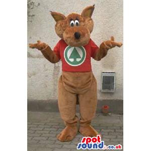 Brown Kangaroo Plush Animal Mascot With A Red T-Shirt With Logo