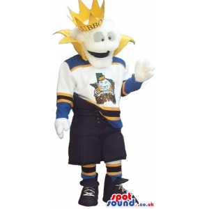 White Plush Mascot Wearing A Crown And Sports Clothes With A