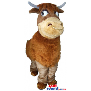 Customizable Brown Hairy Cow Plush Mascot With Lazy Eyes -