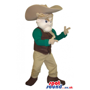 Cowboy Character Mascot With Green And Beige Clothes And Hat -