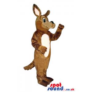 Brown Kangaroo Plush Animal Mascot With A White Belly - Custom
