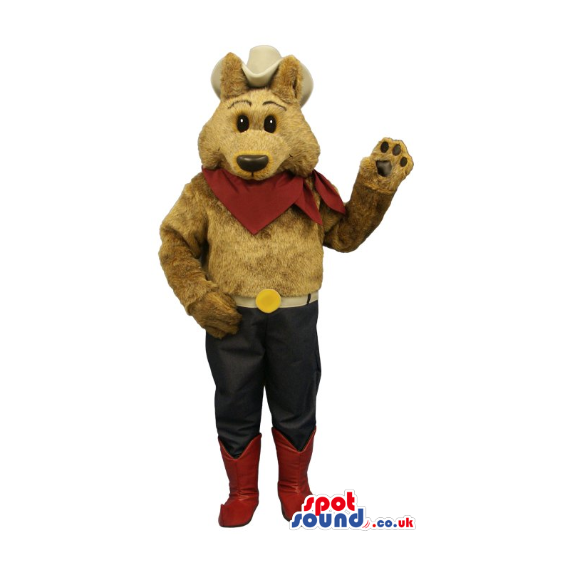 Brown Bear Cowboy Plush Mascot With A Big Hat And Red Neck