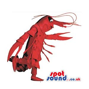 Cool Customizable Red Plush Shrimp Or Lobster Mascot - Custom