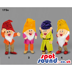 Four Character Mascots From Snow White And The Seven Dwarfs -