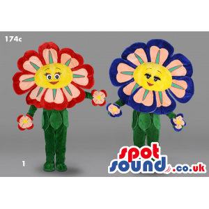 Two Flower Plush Mascots With Two Different Color Combinations
