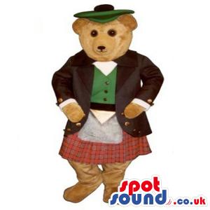 Cute Teddy Bear Plush Mascot Wearing Scottish Garments - Custom