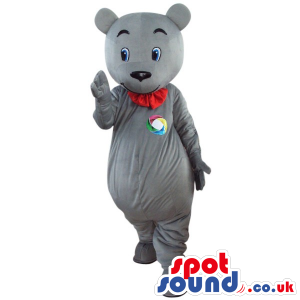 Grey Teddy Bear Plush Mascot With A Red Collar And A Logo -